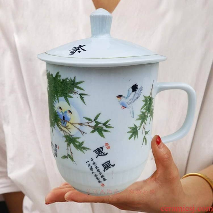 Oversized jingdezhen ceramic porcelain teacup large capacity of 1800 ml with cover longfeng cup water