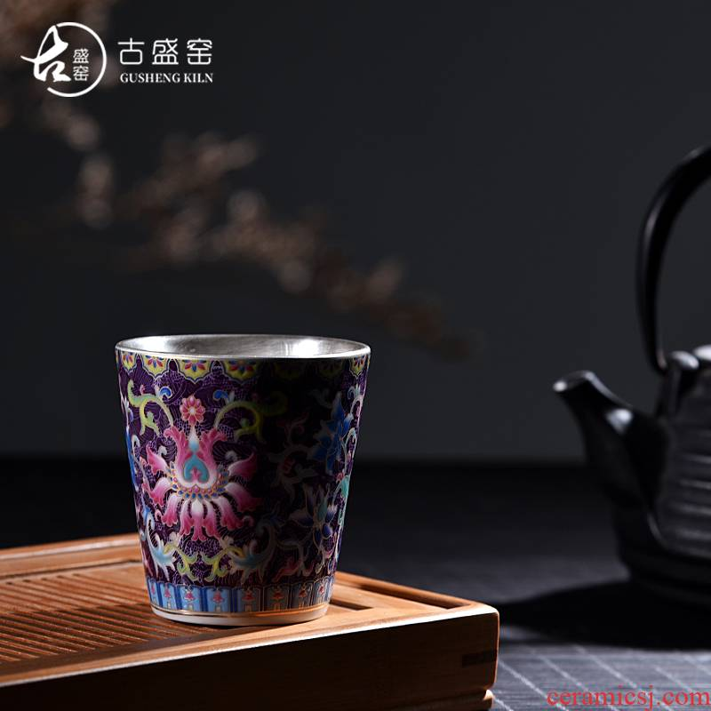 Ancient sheng up new sterling silver ceramic coppering. As silver 99 sample tea cup to pick flowers cup colored enamel master cup cup single fullness