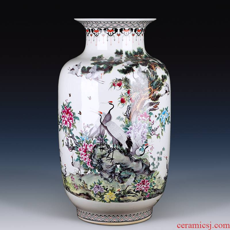 Jingdezhen ceramics powder enamel antique Chinese years sitting room adornment is placed more idea for gourd of large vase