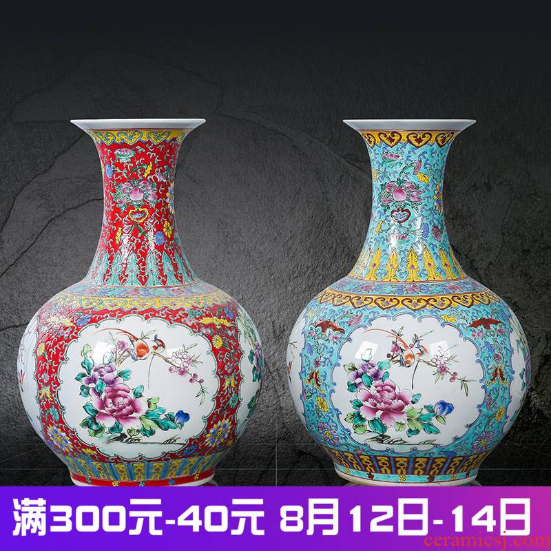 Archaize of jingdezhen ceramics powder enamel handpainted Chinese style household furnishing articles dry flower arrangement for the opening of large vases, bottles