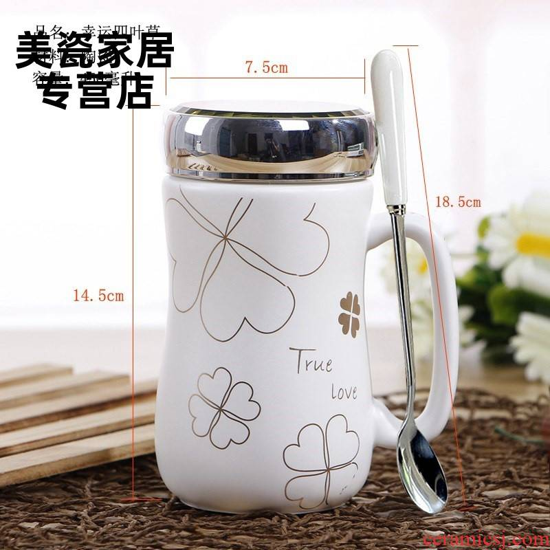Heat preservation office female household koubei covered large lovely adult ceramic stripes drinking cup with a handle