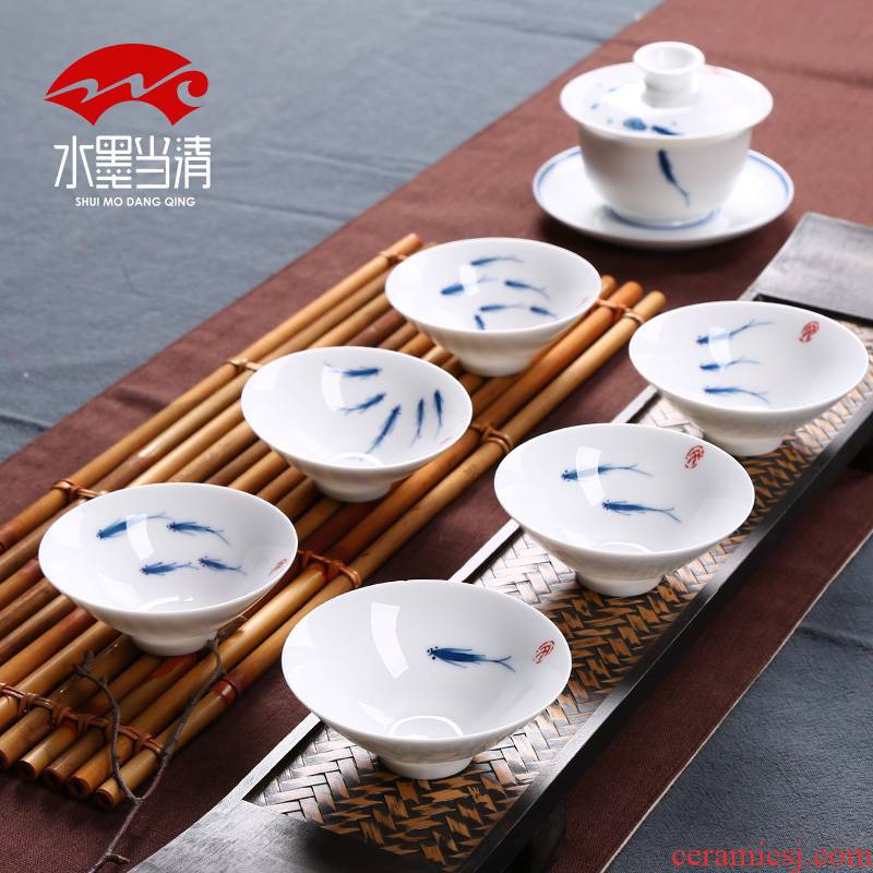 Creative hand - made ceramic cups of blue and white porcelain hat to a cup of red tea tea cup personal cup sample tea cup master CPU