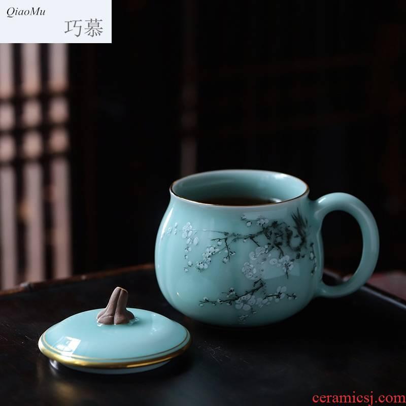 Qiao mu longquan celadon ceramic cups with cover cup tea keller gift tea cups