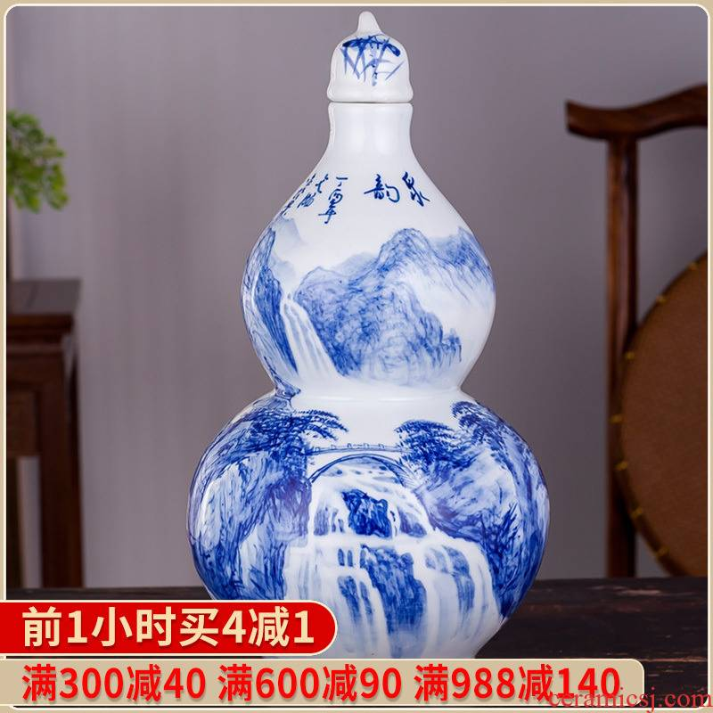 Jingdezhen blue and white ten catties ng mun - hon famous hand - made with ceramic terms bottle 10 jins jars wine gourd