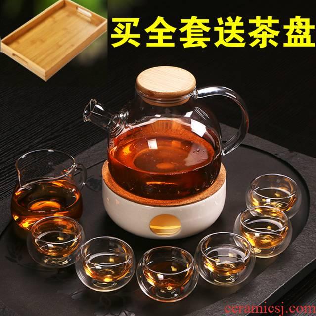 European rural fruit tea glass tea tea boiled the teapot teacup set ceramic based heating base