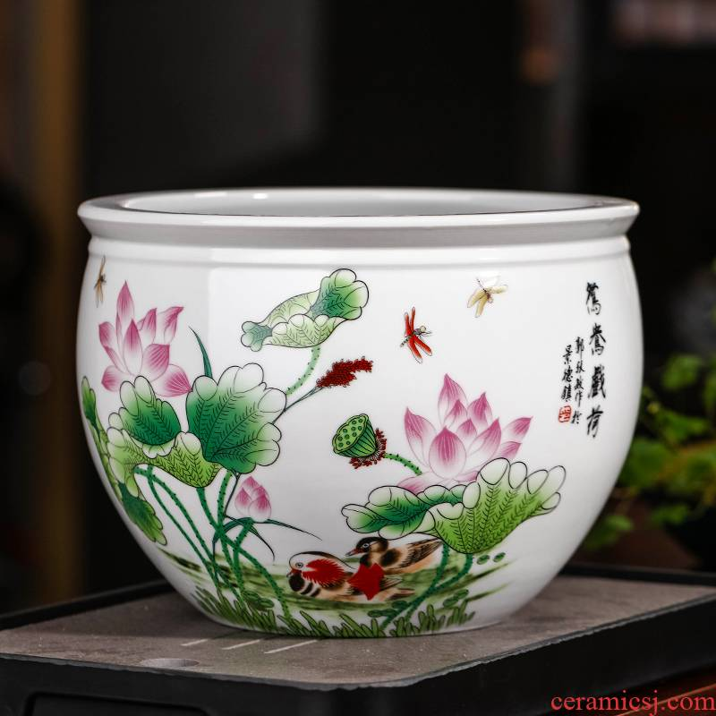 Jingdezhen ceramics powder enamel pot large hydroponic bowl lotus pond lily copper money plant potted grass court goldfish bowl