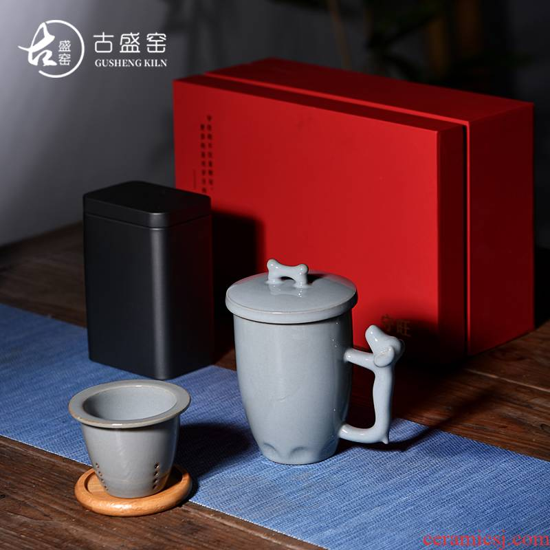 Ancient sheng up new ceramic keep prosperous mark cup with cover filter office cup tea water glass iron caddy fixings