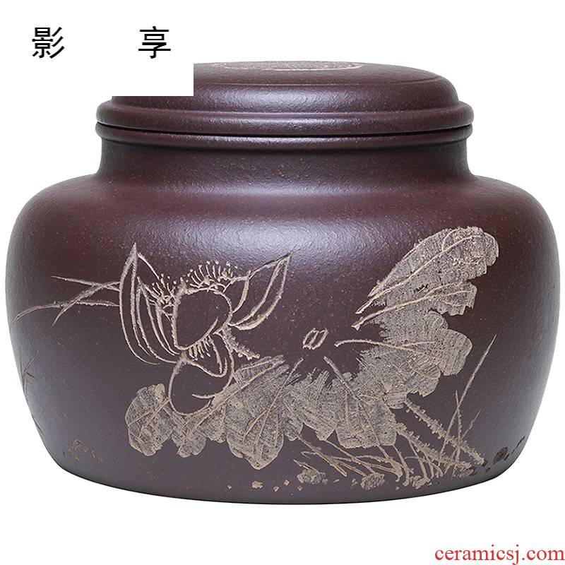 Shadow at yixing purple sand tea POTS awake scattered receives famous Wu Jianli manual purple clay caddy fixings tea accessories