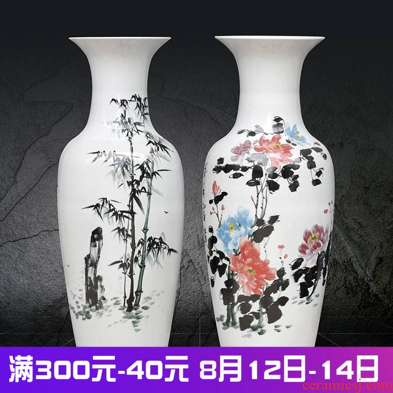 Jingdezhen ceramics painting landing big vase high furnishing articles of Chinese style living room painting peony open bamboo adornment