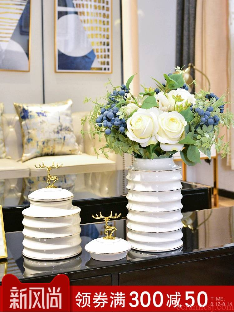 Modern white ceramic vase Nordic creative furnishing articles contracted sitting room flower arranging light key-2 luxury decoration wind TV ark, porch