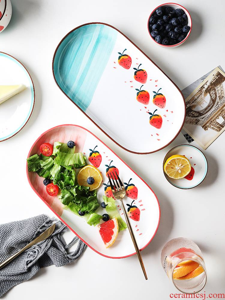 Strawberry under the glaze color creative lovely good - & household food dish plate Japanese ceramic plate dishes son western food steak plate