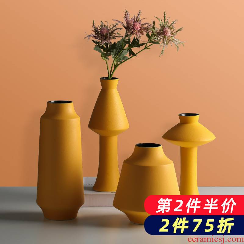 Creative ceramic vase yellow dried flower adornment Nordic I and contracted household flower arrangement sitting room TV ark, furnishing articles