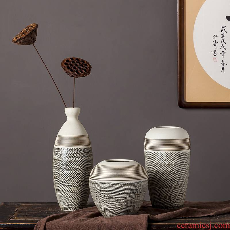 Jingdezhen ceramic vases, I and contracted household hydroponic flowers dried flower arranging flowers furnishing articles sitting room pure and fresh and small table