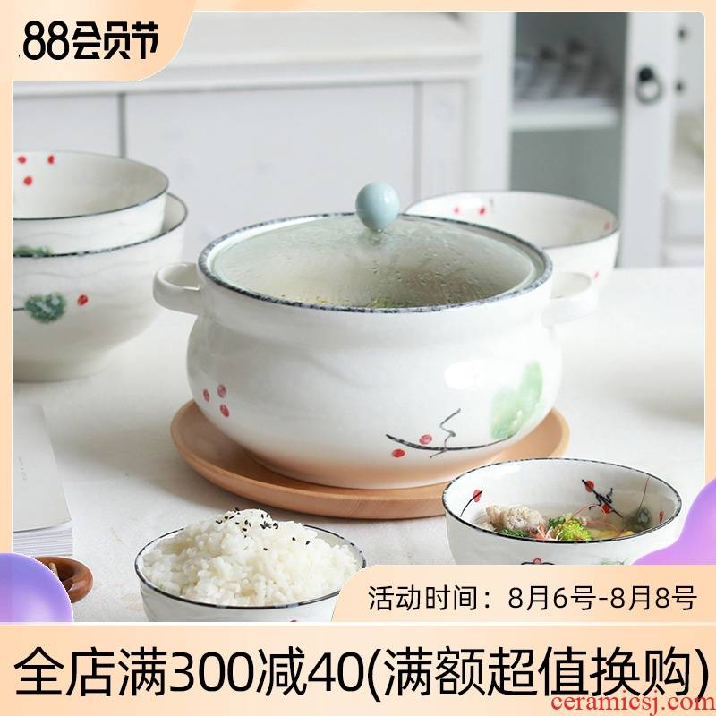 Home to eat bread and butter of jingdezhen ceramic rainbow such use large bowl soup bowl creative contracted Japanese under the glaze color tableware