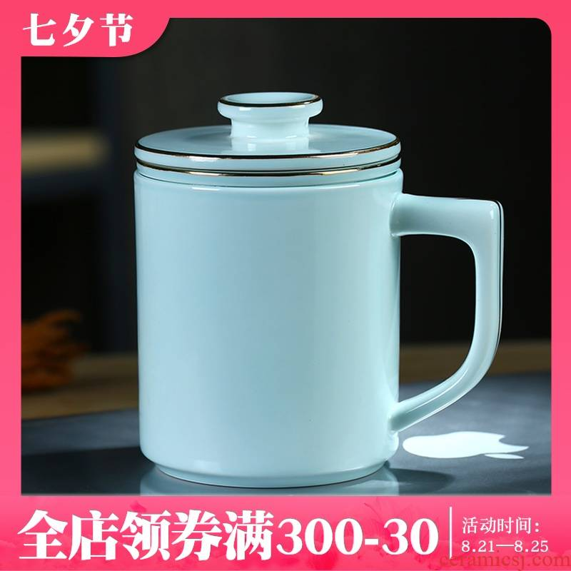 Jingdezhen celadon paint glass ceramic filter cups with cover large capacity water glass tea cup printing office