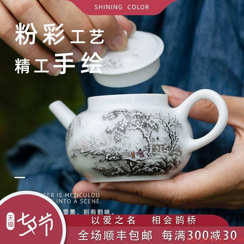 Snow mountain notes, set the pot of jingdezhen ceramic checking painting teapot single teapot kung fu tea pot