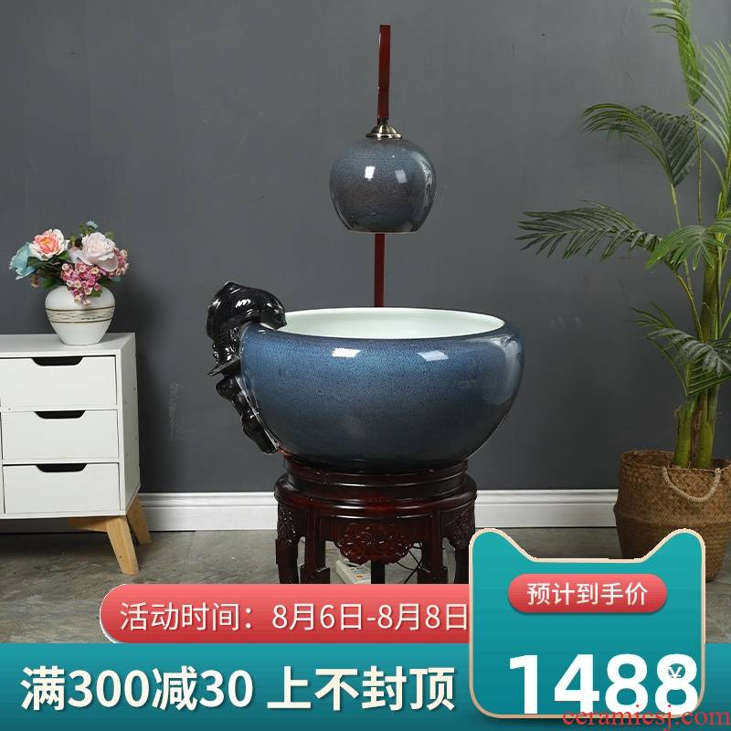 Jingdezhen ceramic aquarium tank circulation water filters turtle sitting room home a goldfish bowl and oxygen cylinder