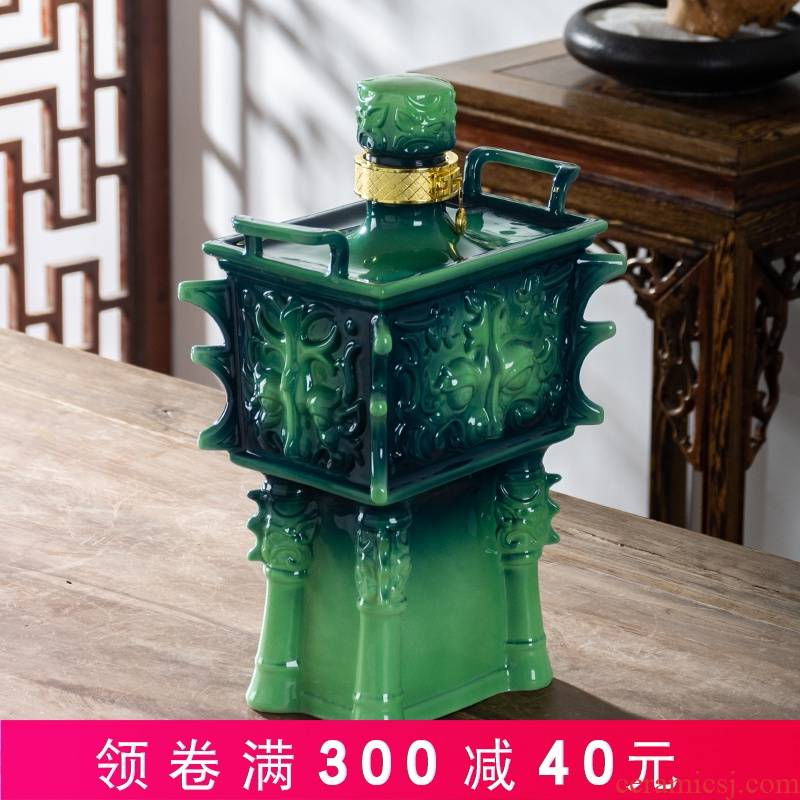 An empty bottle of jingdezhen ceramic 5 jins of 10 jins to household sealed empty jars with gift box wine liquor pot up hide