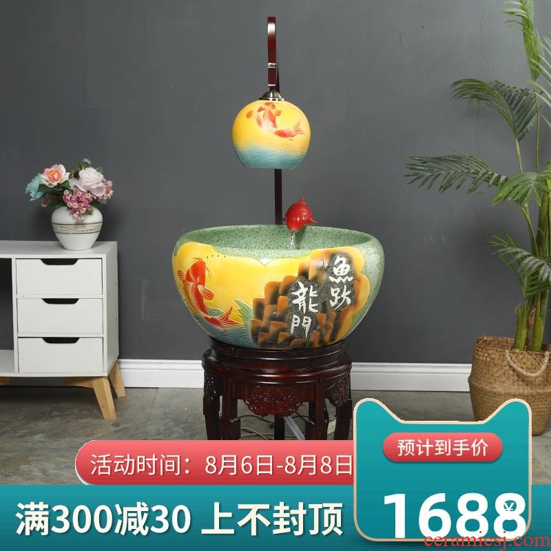 Jingdezhen ceramic aquarium fountain loop filter aerobic basin goldfish bowl lotus cylinder aquarium ceramic fortune sitting room