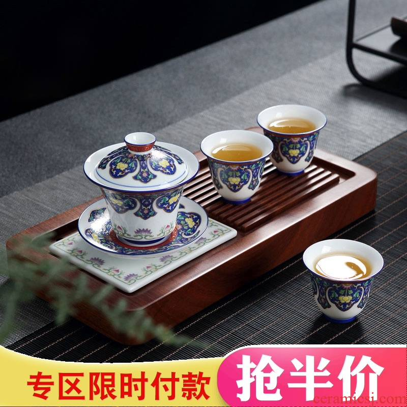Colored enamel of a complete set of ceramic tea set jingdezhen Chinese style household kung fu tea, contracted tea tray package