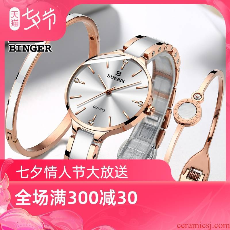 Swiss Jordan chan and ceramic table authentic accusative female table quartz watches water - resistant and elegant mei white diamond