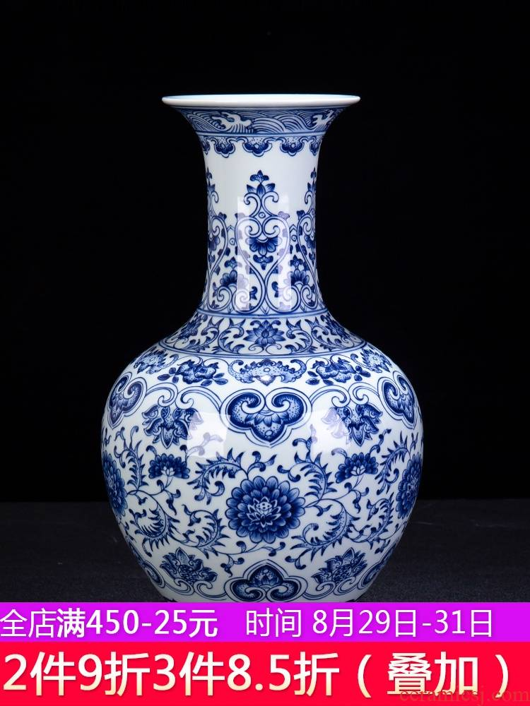 New Chinese style is I sitting room adornment furnishing articles of blue and white porcelain of jingdezhen ceramic contracted household flower vase