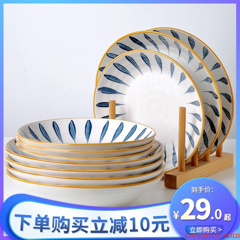Jingdezhen Japanese ceramic dish dish dish home six creative Nordic web celebrity plate cutlery set combination