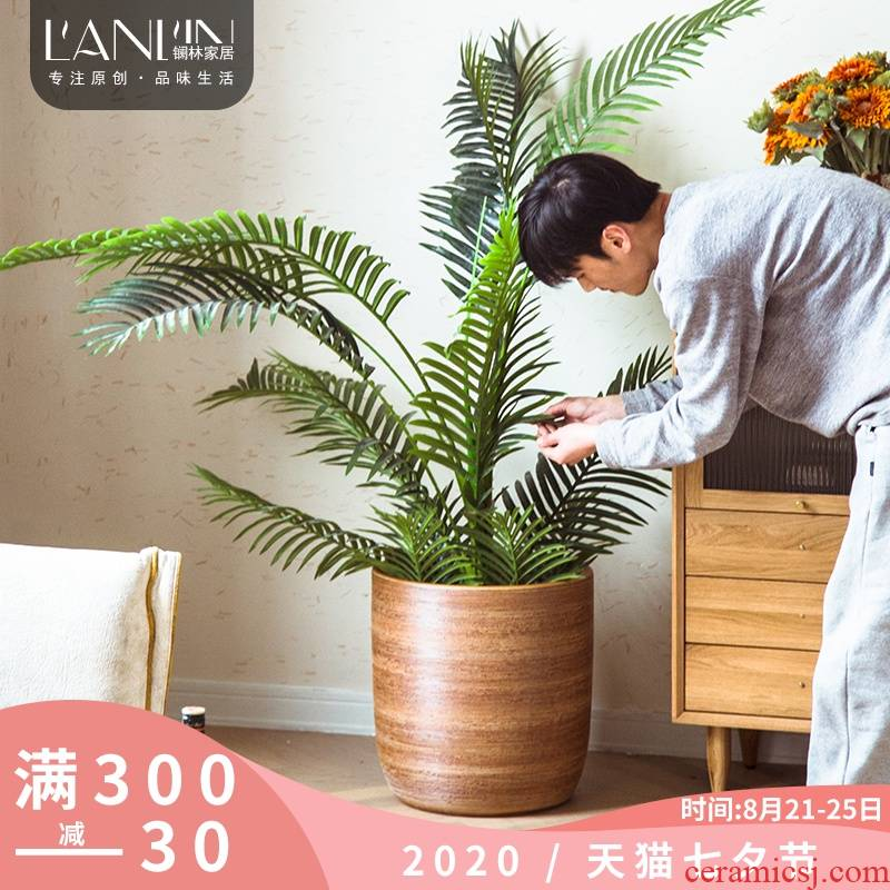 Nordic I and contracted land, green plant pot interior decoration the plants of large diameter three - piece ceramic vases, furnishing articles
