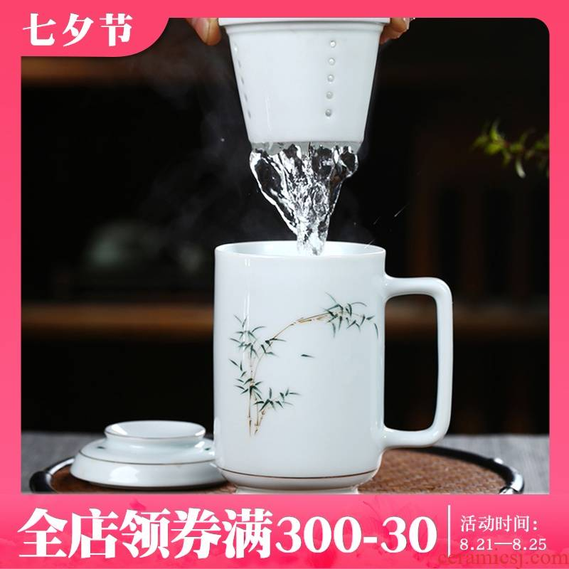 Jingdezhen porcelain keller with cover filter cup tea separate office glass tea cup cup