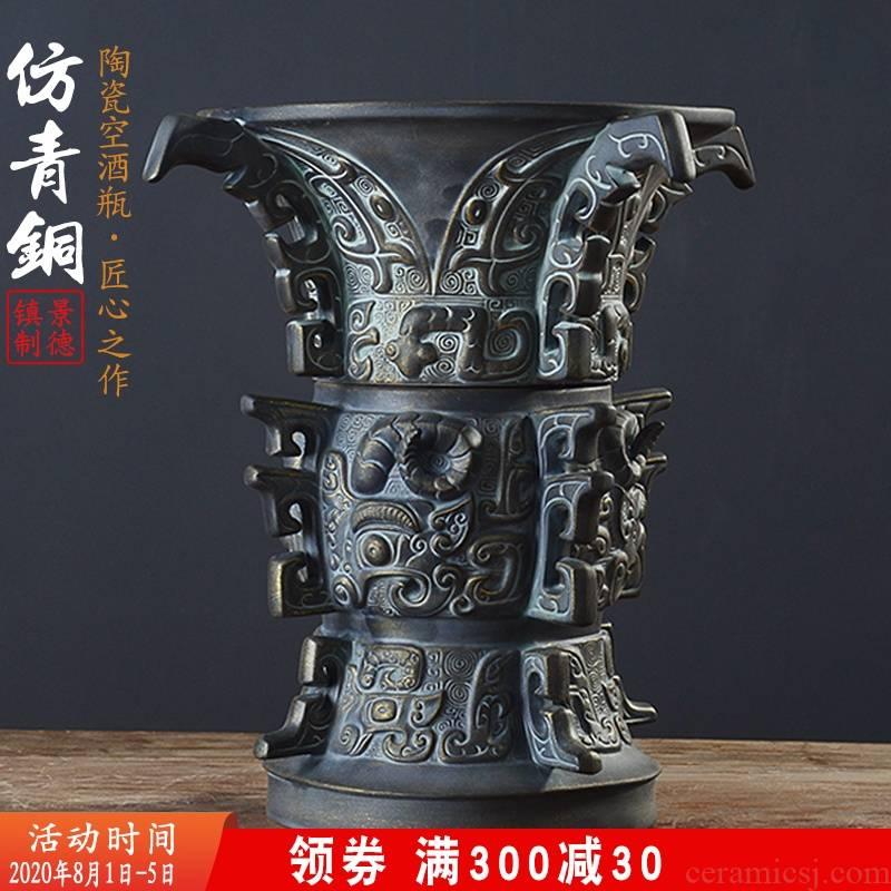 An empty bottle of jingdezhen ceramic home three catties 5 antique bronze powder wind hip seal wine wine jars