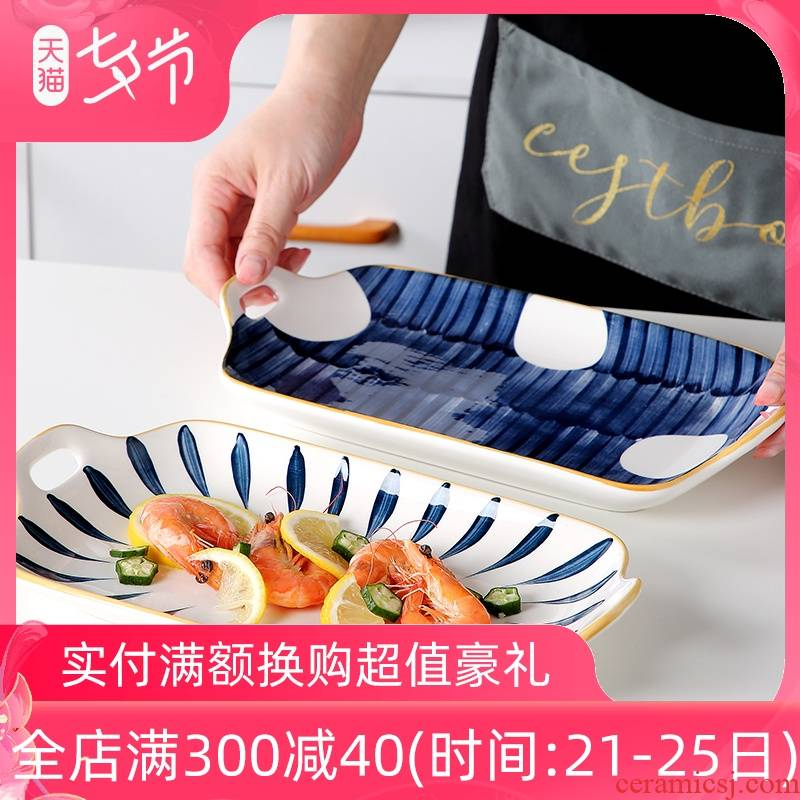 Japanese ceramic fish dish home new steamed fish dish large creative web celebrity long fish dishes use tableware