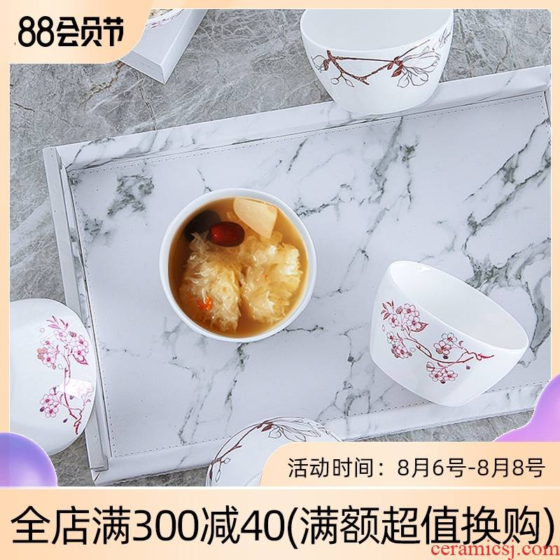 Jingdezhen ceramic square eat bowl household contracted rice bowls creative lovely tableware porringer 4.5 inches