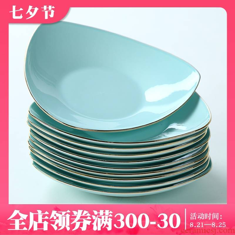 Jingdezhen ceramic plate suit creative triangular plate celadon deep dish up phnom penh ipads porcelain dish dish dish dish dish of household