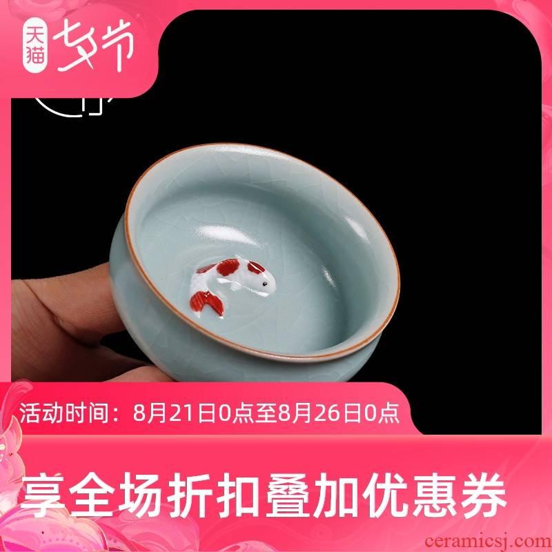 Tea seed your up ceramic cups manual master cup single CPU fish bowl Tea cup can keep open piece of Tea light cup