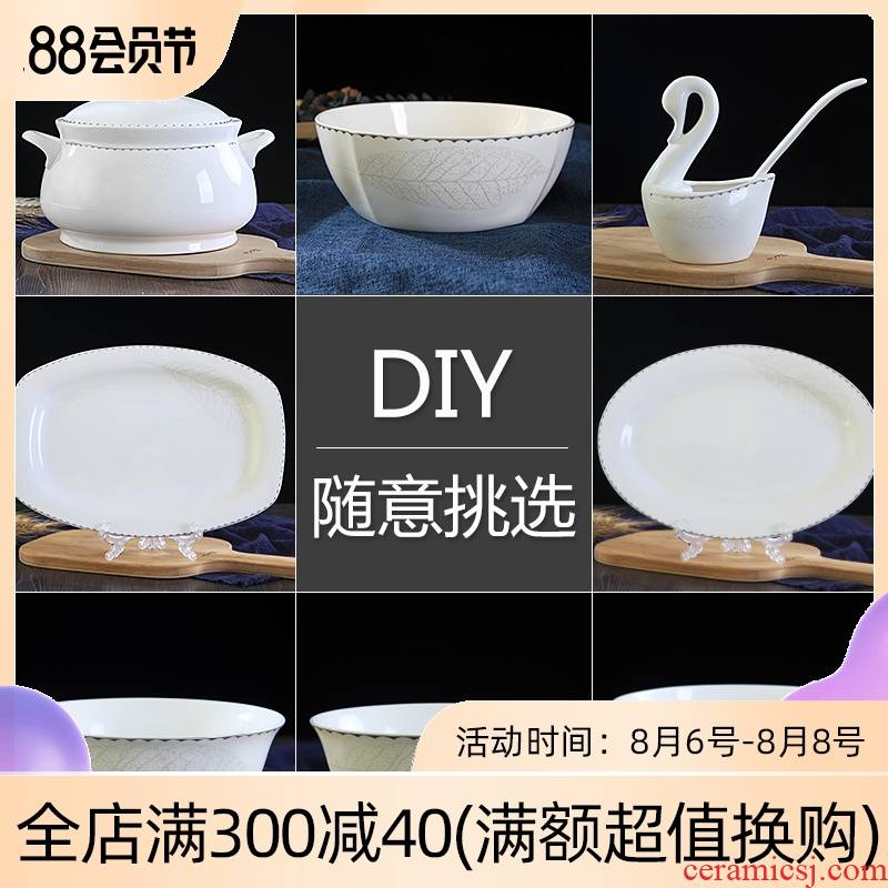 Jingdezhen ceramic tableware ceramics dishes home outfit matching your job rainbow such as always to use Chinese parts combination