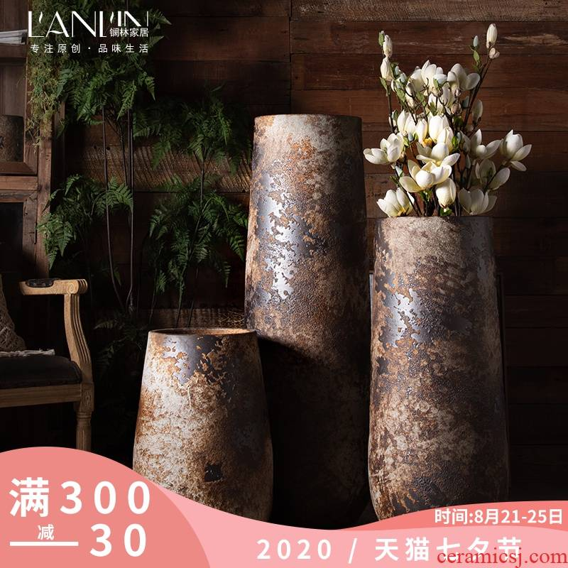 New Chinese style restoring ancient ways furnishing articles vases, ceramic flower arranging large sitting room dry flower art zen coarse pottery of large POTS