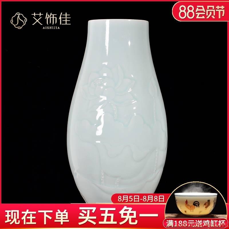 Jingdezhen ceramics shadow blue anaglyph vases, flower arranging TV ark, decorate the sitting room porch handicraft furnishing articles