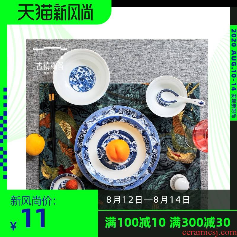 Use of creative move household tableware suit dishes Nordic bowls Bowl jingdezhen single combination of blue and white porcelain bowls