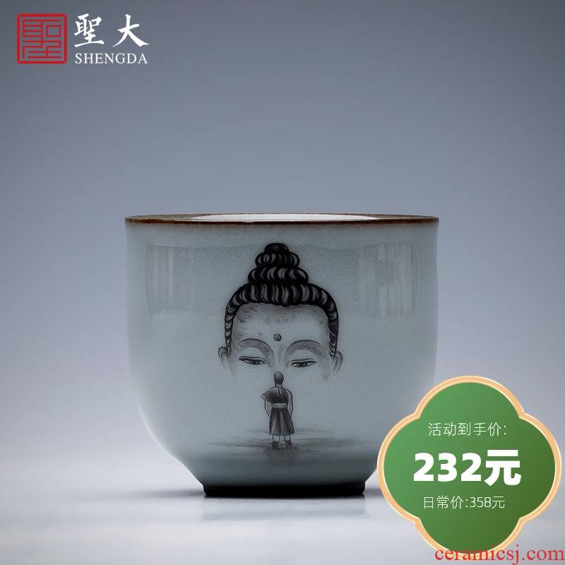 Holy big ceramic up tire iron master kung fu tea cup hand - made asked Buddha sample tea cup full manual of jingdezhen tea service