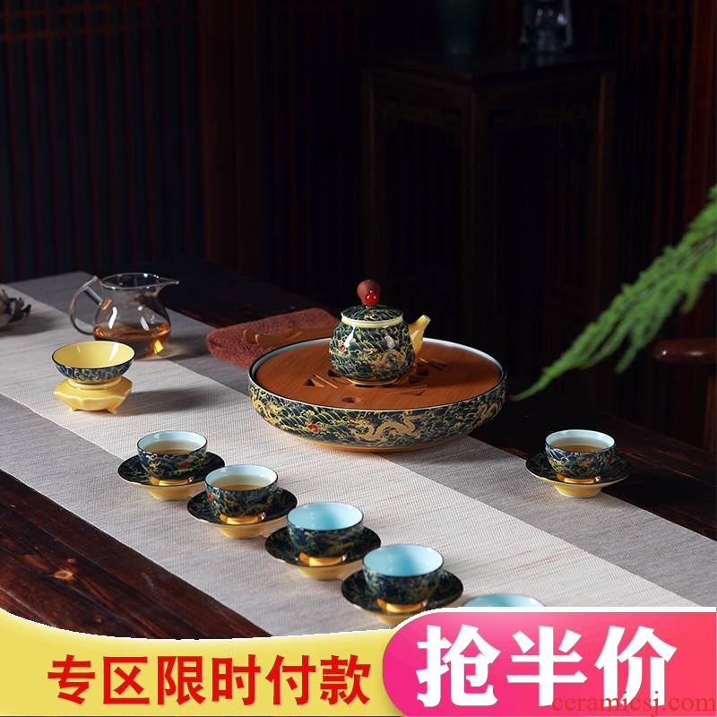 Jingdezhen household kung fu tea set ceramic porcelain tea tray teapot six cups of a complete set of large tea tray