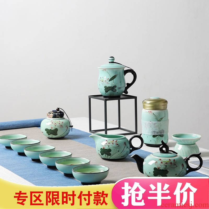 Red the jingdezhen ceramic celadon kung fu tea set suit household hand - made retro teapot small tea cups of tea
