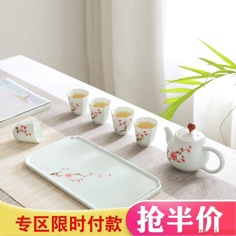 Jingdezhen kung fu tea set suit portable travel ceramic contracted teapot tea tray was white porcelain cups, small cups