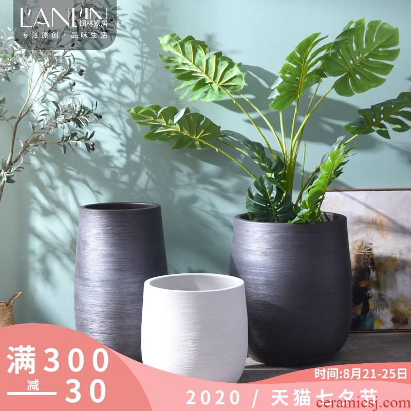 Nordic ground ceramic vase furnishing articles creative contracted household dried flower arranging flowers sitting room adornment ornament large flowers