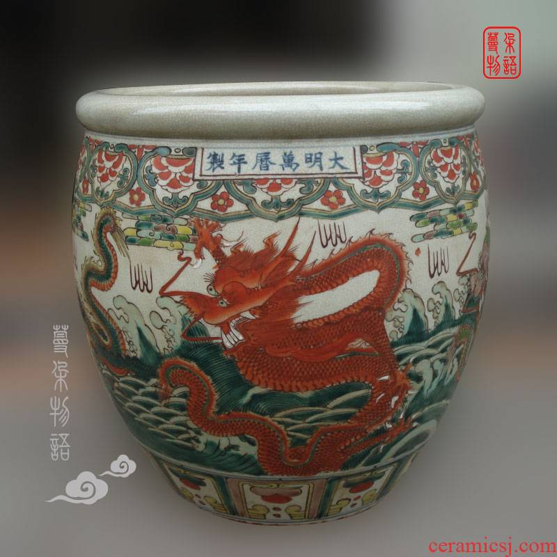 Jingdezhen dragon cylinder hand - made of hand - made archaize color wanli porcelain wanli porcelain imitation says Dr. Cylinder