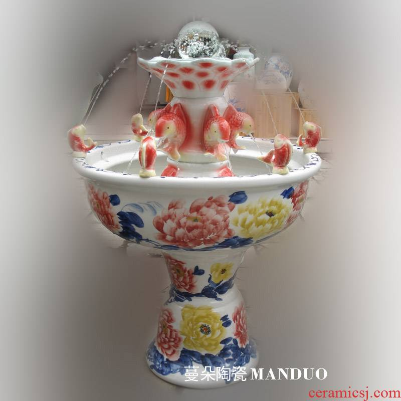 Fountain dry red carp porcelain jingdezhen Fountain fountains fish high porcelain Fountain humidifying fountains