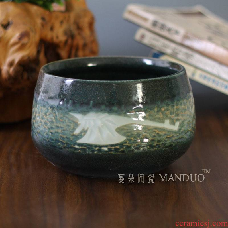 Anaglyph writing brush washer ceramic porcelain carving the tortoise cylinder goldfish bowl character writing brush washer fashion culture