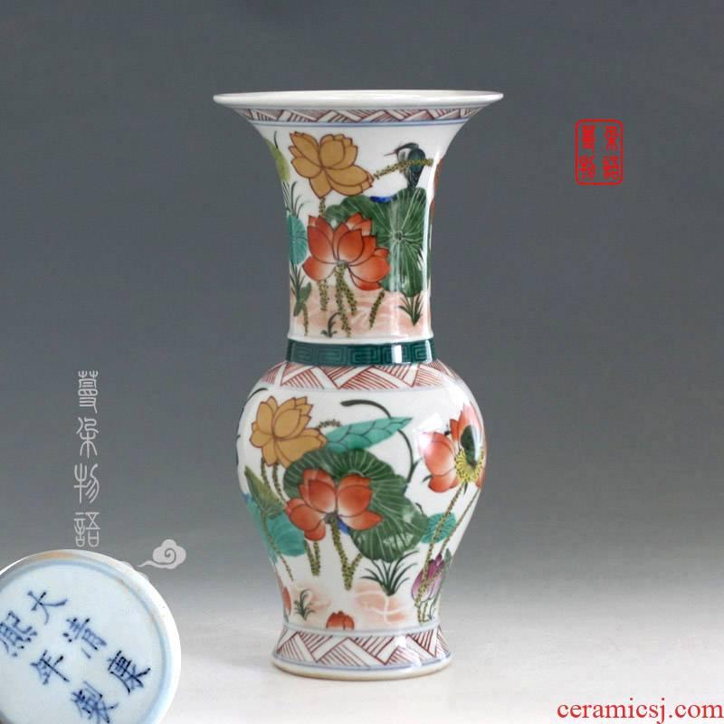 Kangxi colorful flower vase with Kangxi porcelain vase colorful display mesa classical ancient Kangxi vase