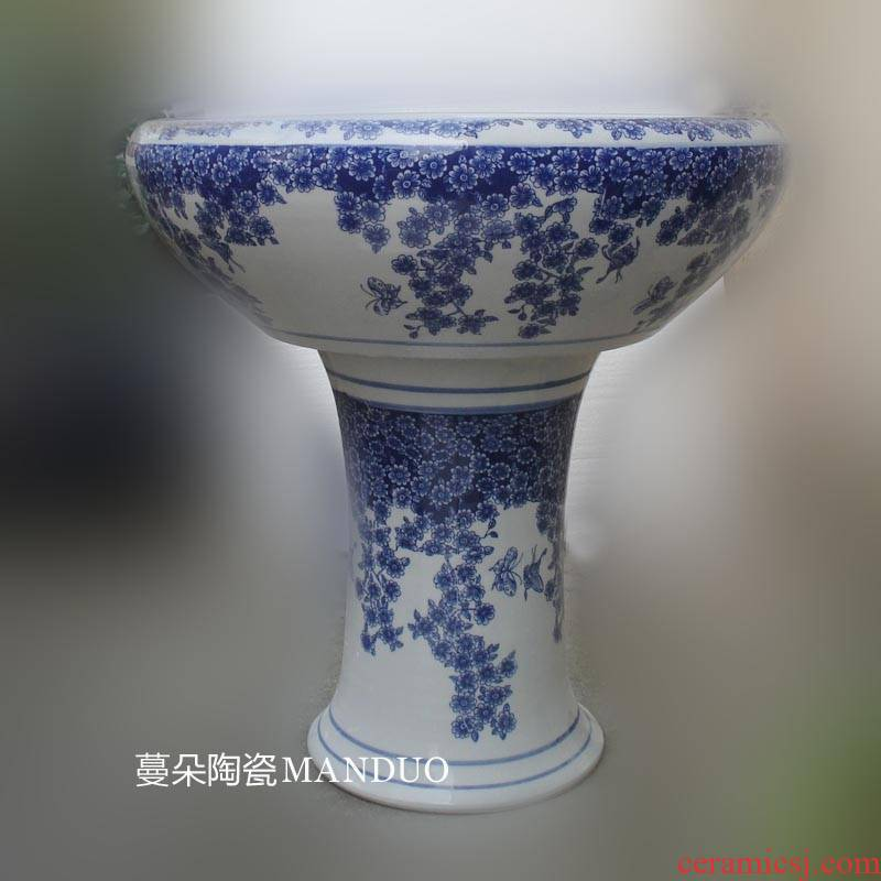 Blue and white porcelain of jingdezhen Blue and white porcelain shallow water high tall beautiful porcelain cylinder goldfish bowl the tortoise