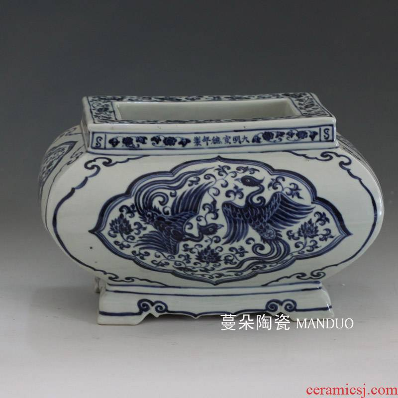 Square move censer hand - made of blue and white porcelain of jingdezhen chicken WenXiangLu jintong abnormity porcelain incense buner