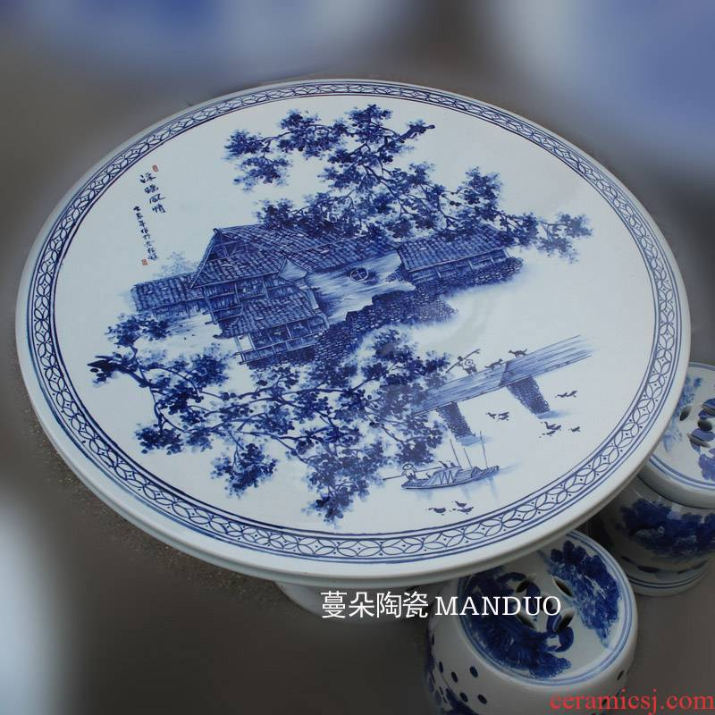 Jingdezhen diameter of about 1 meter checking porcelain table table series of blue and white landscape painting porcelain courtyard husband